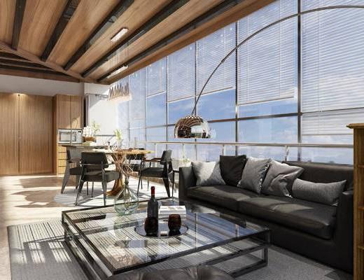 沙发组合, 落地灯, 抱枕, 茶几, 餐桌