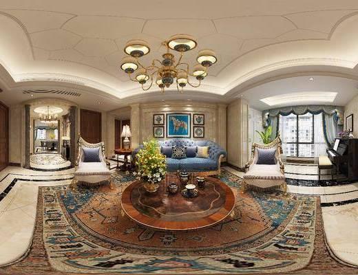 客厅, 餐厅, 多人沙发, 茶几, 单人沙发, 吊灯, 钢琴, 凳子, 电视柜, 边柜, 装饰画, 挂画, 组合画, 欧式