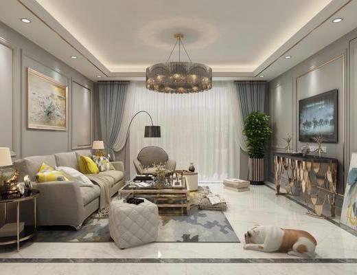 现代, 客厅, 多人沙发, 单人沙发, 吊灯, 边几, 台灯, 电视柜, 挂画, 落地灯, 沙发凳