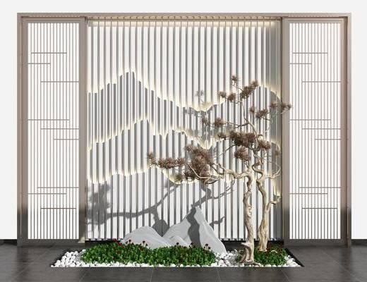 背景墙, 园艺小品, 景观小品, 假山, 松树