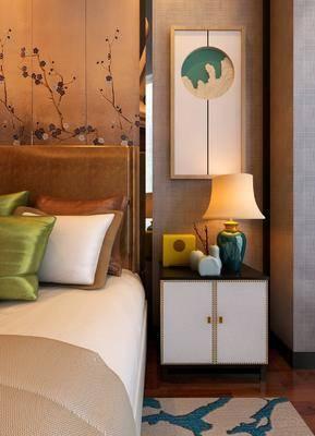 床头柜, 双人床, 台灯, 陈设品, 中式