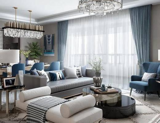 沙發組合, 茶幾, 擺件組合, 吊燈, 單椅