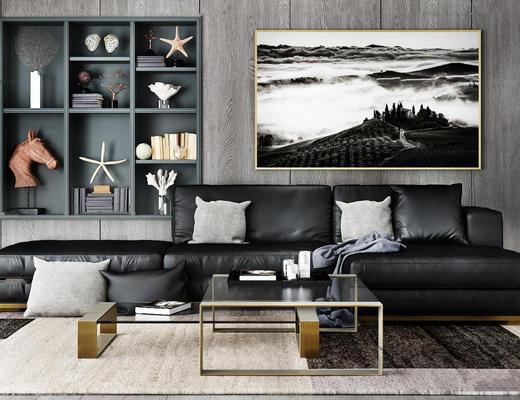 现代皮革沙发边柜茶几装饰画组合3D模型, 装饰品, 装饰画, 沙发, 茶几