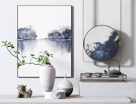 新中式, 盆栽摆件组合, 盆栽, 墙画, 下得乐3888套模型合辑