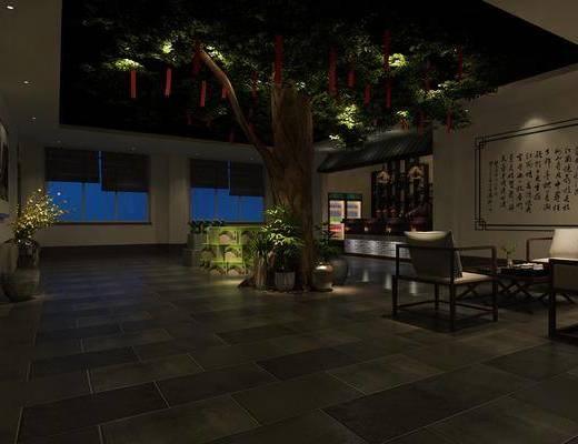 接待过道, 大堂大厅, 树木, 绿植植物, 沙发组合, 前台接待, 中式