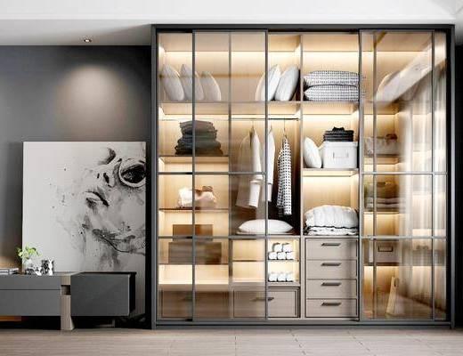 现代, 衣柜, 电视柜, 衣服