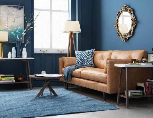 北欧简约, 棕色沙发, 沙发组合, 沙发茶几组合, 花瓶, 落地灯, 北欧
