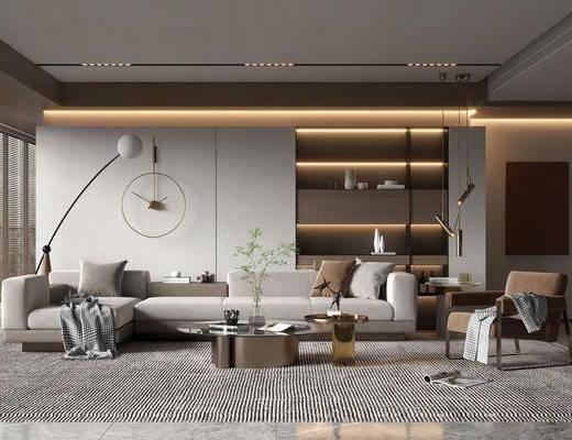 现代客厅, 沙发, 茶几, 落地灯