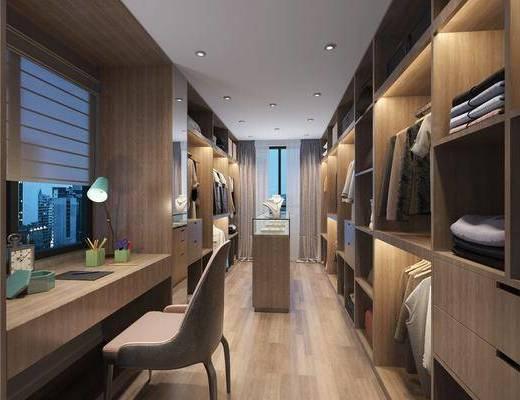 衣帽间, 梳妆台, 换衣凳, 衣服, 服饰, 摆件饰品, 台灯, 书桌, 单人椅, 现代