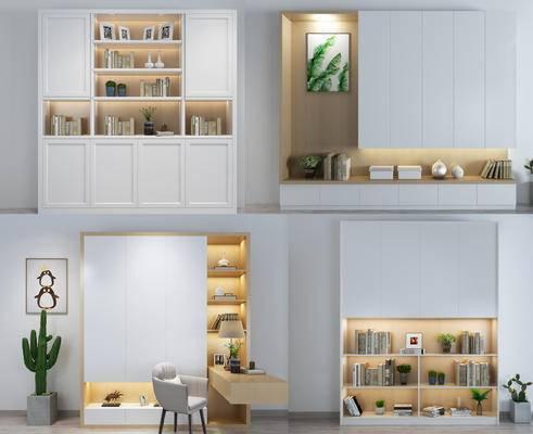 书柜, 日式, 现代, 简约, 置物柜, 装饰柜, 陈设品