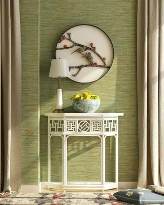 装饰柜, 边几, 台灯, 墙饰, 摆件, 装饰品, 陈设品, 新中式