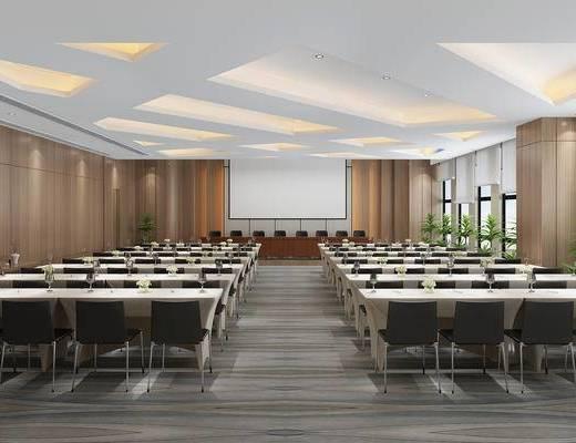 会议桌椅, 投影仪, 绿植, 屏幕, 会议室, 植物