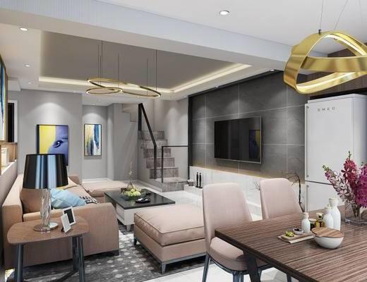 现代, 时尚客厅, 沙发组合, 吊灯, 桌椅组合, 台灯