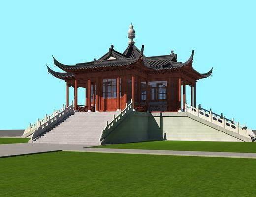 古建, 大殿, 中式