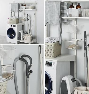 洗衣机, 吸尘器, 置物架, 衣服, 毛巾, 卫浴用品, 地拖桶, 卫浴小件
