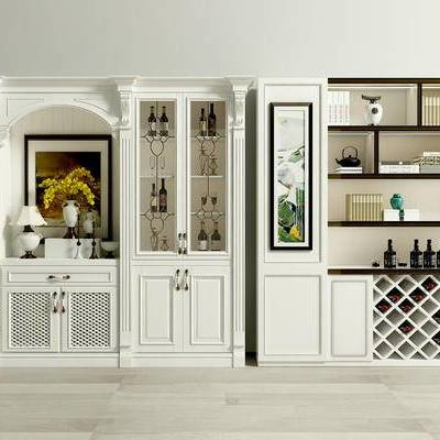 酒柜, 置物柜, 欧式, 法式, 酒瓶, 陈设品, 摆件, 挂画