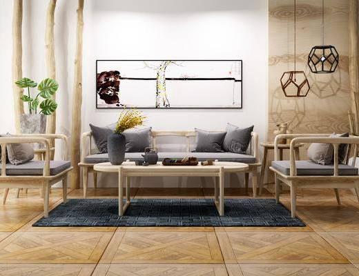 多人沙发, 茶几, 单人沙发, 吊灯, 边几, 盆栽, 摆件, 装饰品, 陈设品, 装饰画, 挂画, 新中式