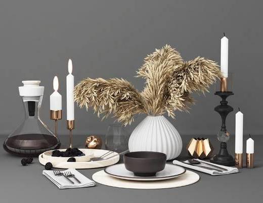 餐厅, 装饰品, 花瓶, 烛台