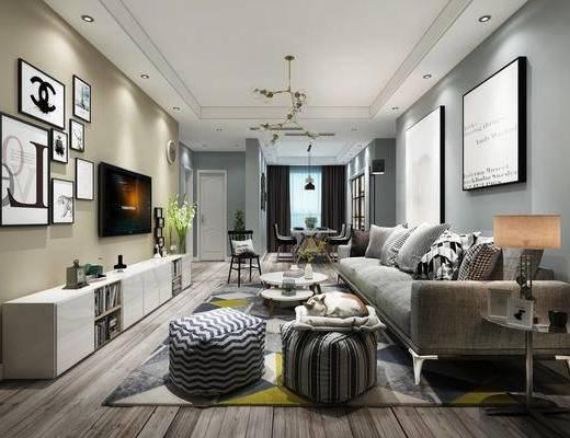 北欧客厅, 沙发茶几组合, 装饰画, 猫, 电视柜, 现代吊灯