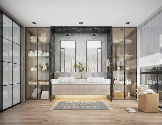 卫生间, 洗手台, 装饰镜, 摆件, 装饰品, 陈设品, 脚踏沙发, 现代