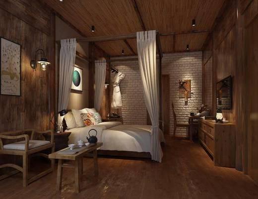 酒店客房, 双人床, 单人椅, 壁灯, 电视柜, 边柜, 摆件, 装饰品, 陈设品, 床头柜, 台灯, 吊灯, 中式