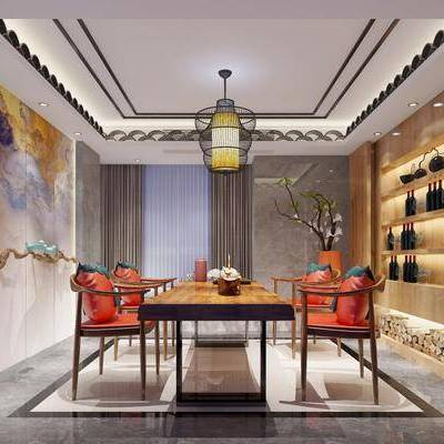 茶室, 桌子, 餐桌, 茶桌, 单人椅, 椅子, 摆件, 装饰柜, 装饰画, 挂画, 吊灯, 墙饰, 花瓶, 花卉, 装饰品, 陈设品, 新中式