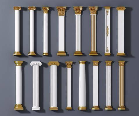 罗马柱, 柱子组合, 欧式