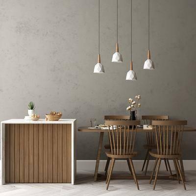餐桌, 桌椅组合, 吊灯, 餐具组合, 边柜, 摆件组合