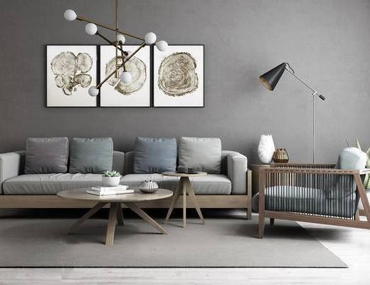 北欧简约木沙发茶几组合, 落地灯, 北欧多头灯泡吊灯, 墙面装饰画, 北欧