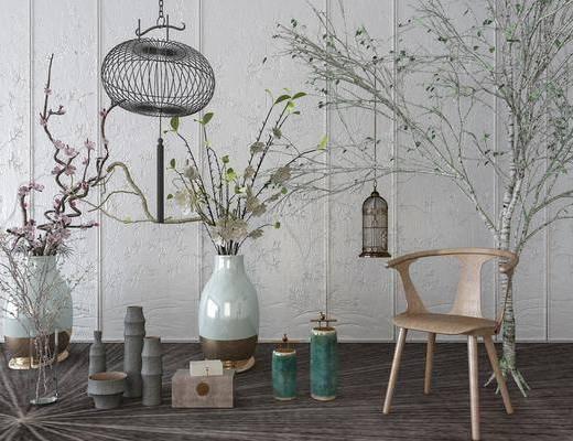 单人椅, 花瓶花卉, 干树枝, 吊灯, 摆件, 装饰品, 陈设品, 新中式