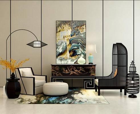单人沙发, 边柜, 装饰画, 落地灯, 台灯, 摆件
