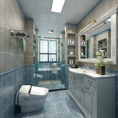 卫生间, 浴缸, 洗手台, 马桶, 摆件, 装饰品, 陈设品, 美式
