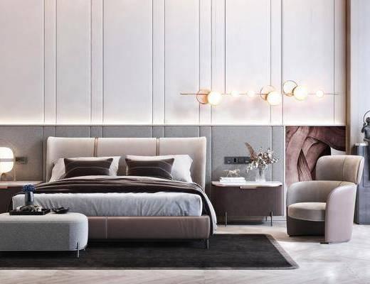 双人床, 床具组合, 吊灯, 单椅, 床头柜