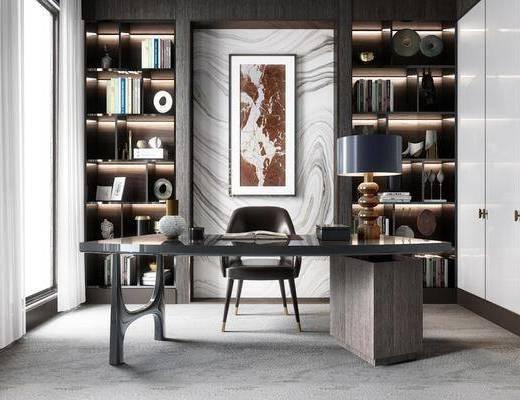 桌椅组合, 装饰画, 装饰柜