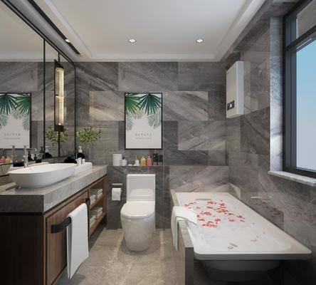 卫生间, 浴室, 浴缸, 马桶, 洗手台, 装饰画, 挂画, 壁灯, 现代