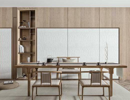 实木茶桌, 泡茶椅, 装饰柜, 饰品摆件