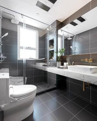 現代衛生間3d模型, 衛浴, 浴缸, 洗手臺, 衛浴小件