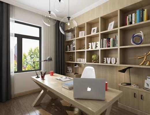 现代, 卧室, 书房, 床具, 书桌椅