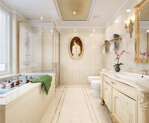 欧式卫生间, 欧式, 卫生间, 欧式洗手盆, 欧式浴柜