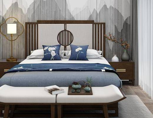 中式双人床, 床尾凳, 床头柜