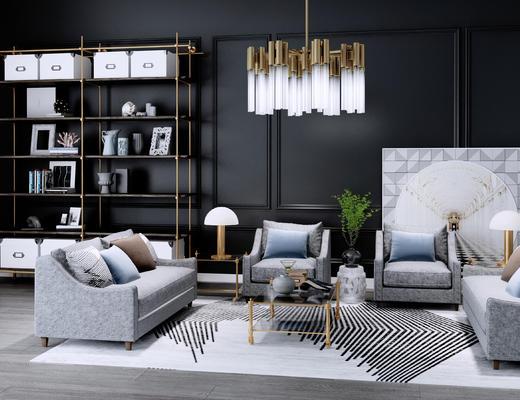 沙发组合, 沙发茶几组合, 现代沙发, 吊灯, 装饰架, 置物架