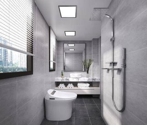 卫生间, 洗手台, 花洒, 装饰镜, 现代