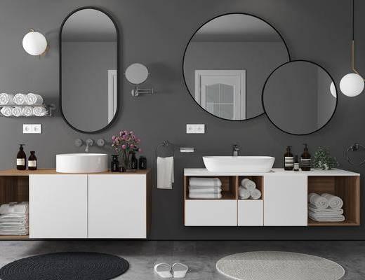 卫浴柜架, 洗手台, 镜子, 毛巾, 置物柜, 吊灯, 置物架, 卫浴小件, 现代, 现代卫浴组合