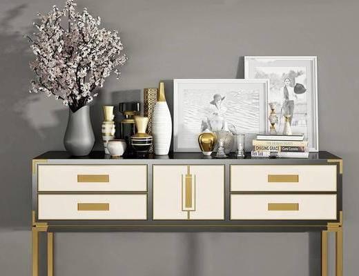 现代简欧, 欧式简约, 简欧边柜, 装饰花瓶, 边柜组合