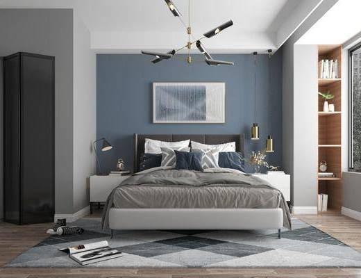 双人床, 吊灯, 装饰画, 地毯, 床头柜, 台灯
