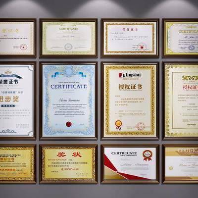 荣誉证书, 荣誉墙, 现代