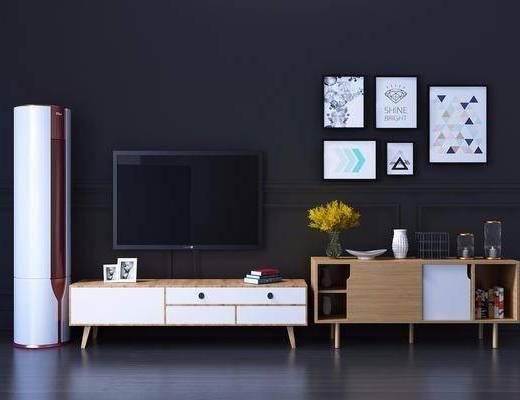电视柜组合, 装饰柜, 边柜, 装饰画, 挂画, 照片墙, 摆件, 装饰品, 陈设品, 北欧