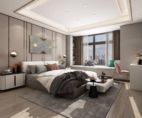 双人床, 装饰画, 床头柜, 地毯, 梳妆台
