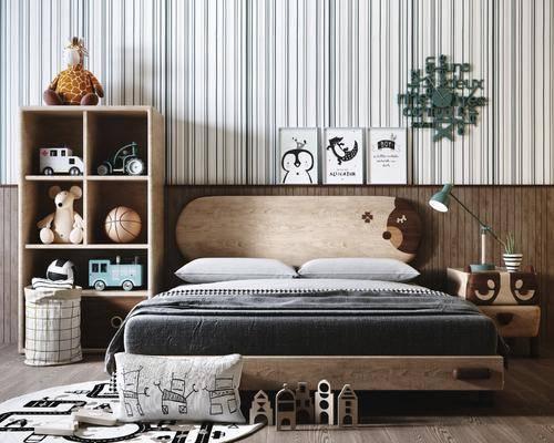 床柜, 玩具组合, 置物柜, 单人床