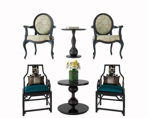 单椅, 茶几, 单人椅, 圆几, 摆件, 花瓶, 花卉, 新中式, 美式, 古典